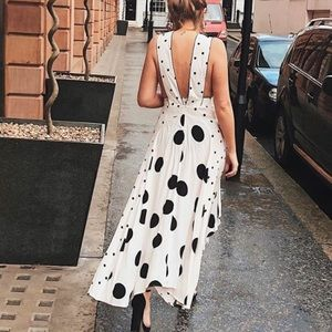 Topshop Spotted Polka Dots Pinafore Midi Dress